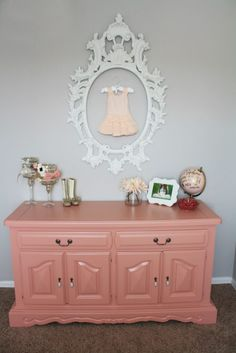 Coral Painted Dresser in a Floral Nursery - perfect shade of coral!