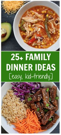 A list of easy family dinner ideas meant to provide some weeknight inspiration when 5 pm hunger hits!While it might seem like I'm always creating new recipes, t Easy Family Dinners, Easy Weeknight Dinners, Weeknight Recipes, Lunch Recipes, Healthy Dinner Recipes, Healthy Lunches, Easy Eat, Lunches And Dinners, Dinner Ideas
