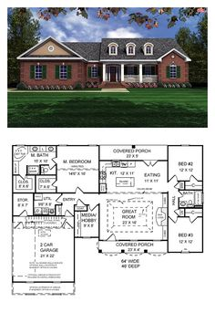 Ranch Style COOL House Plan ID: chp-19129 | Total Living Area: 1751 sq. ft., 3 bedrooms & 2 bathrooms. This home features a beautiful classic traditional style with an European touch. The open floorplan of this home includes a split-bedroom layout, and features the much-requested gas logs or conventional fireplace. #houseplans #ranchstyle