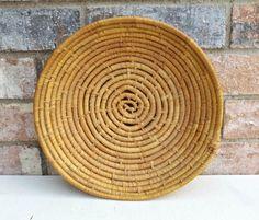Round Coiled Vintage Basket, Vintage Coil Basket, Woven Wall Hanging, Boho Decor