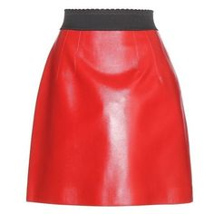 Dolce Gabbana Leather Miniskirt ❤ liked on Polyvore featuring skirts, mini skirts, mini skirt, real leather skirt, leather mini skirt, red mini skirt and red leather mini skirt