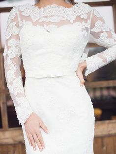 Elegant long-sleeve lace embroidered wedding dress; Featured Photographer: Simply Sweet by Nomo Akisawa