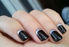 reverse french manicure - black silver - square tips