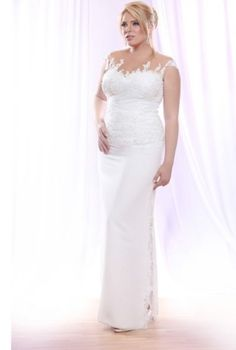 Sleeveless Plus Size Wedding Dress with beaded lace on Illusion Neckline \ Plus Size Bridal Dresses \ www.dariuscordell.com/featured/plus-size-wedding-dresses-bridal-gowns/