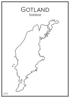 Gotland. Sweden. Map. City print. Print. Affisch. Tavla. Tryck. Around The World In 80 Days, Around The Worlds, Sweden Map, City Print, Print Print, Map Design, City Maps, Tattoos, Henna