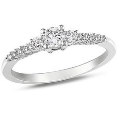 1/3 Carat T.G.W. Created White Sapphire and Diamond-Accent Engagement Ring in Sterling Silver