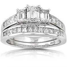 @Overstock - Click here for Ring Sizing Chart.Diamond bridal ring set14-karat white gold jewelryhttp://www.overstock.com/Jewelry-Watches/14k-Gold-2ct-TDW-Emerald-cut-Diamond-Bridal-Ring-Set-H-I-SI-I/4290056/product.html?CID=214117 $2,538.09