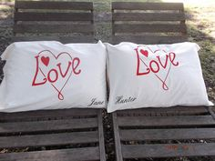 LOVE Handpainted Standard Pillow Cases  by TreasuresShop on Etsy, $30.00