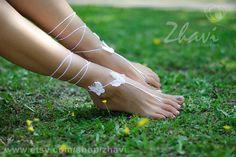 Bridal barefoot sandals Crochet barefoot sandals Bridal by ZHAVI