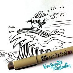 Surfing like a boss at day 29 of #365doodleswithjohannafritz: Surf board.  #illustratorsofinstagram #instagallive #dailysketch #doodle #sketchbook #surfing #bunny #absolutecoolness by veraschmidtillustration