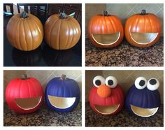 DIY SESAME PUMPKINS 1.  Buy two craft pumpkins from Michael's at $16.99 2. Buy acrylic paint true red and blue 3. Carve big mouths with a steak knife in both pumpkins 4. Paint one red paint one blue 5. Buy a six pack of foam balls to a half inches