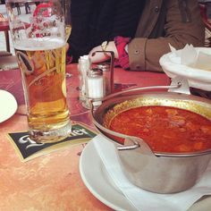 Hungarian beef goulash soup and Hungarian beer. Perfect combination!