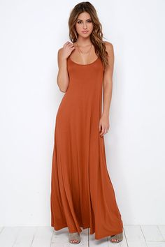 Greet the day, and kick off an amazing evening all with the Sunset the Pace Rust Orange Maxi Dress! Jersey knit maxi dress has a strappy bodice and relaxed fit. Rust Orange Dress, Burnt Orange, Dress Images, Boho Dress, Knit Dress, Bridesmaid Dresses, Maxi Dresses, Bohemian Bridesmaid, Wedding Bridesmaids