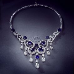 Divine Symmetry  - Graff's Sapphire and Diamond Motif Necklace is inspired by the perfect proportions of the #butterfly.