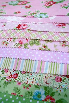 such pretty fabric.  Look how it has stripe, polka dot and floral.  That's the key.