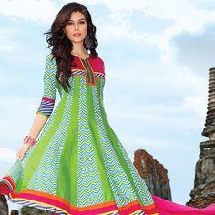 Neon Green and Off White Cotton Readymade Anarkali Churidar Kameez
