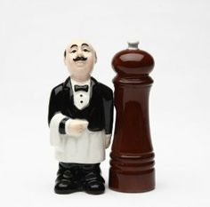 Magnetic Salt and Pepper Shaker - Waiter & Pepper Mill by Attractives. $11.99