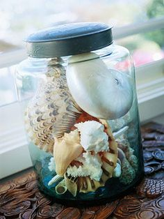 Shells gathered during a walk on the beach and displayed in clear glass containers