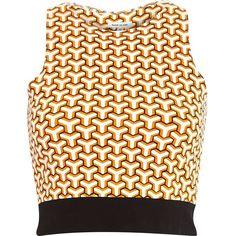 Orange geometric print crop top (£9.68) ❤ liked on Polyvore featuring tops, sale, orange top, geometric tops, river island top, crop top and orange crop top