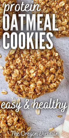 Oatmeal Protein Cookies, Healthy Oatmeal Recipes, Healthy Oatmeal Cookies, Healthy Vegan Breakfast, Healthy Breakfast Options, Healthy Vegan Snacks, Healthy Breakfast Recipes, Healthy Baking, Baked Oatmeal