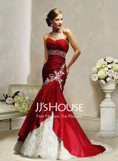 Fascinating Mermaid Sweetheart Chapel Train Taffeta  Lace Wedding Dress with Ruffle  Beadwork (002000478)