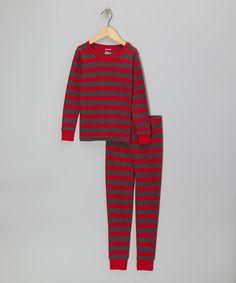 Leveret | Red & Gray Stripe Pajama Set - Infant, Toddler & Kids by Leveret #zulily #zulilyfinds