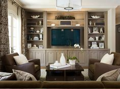 Traditional living room with built in shelves