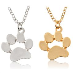 Paw Print Shape Gold Silver Plated Pendant Chain Necklace  Price: 4.21 & FREE Shipping  #pets #dog #doglovergifts