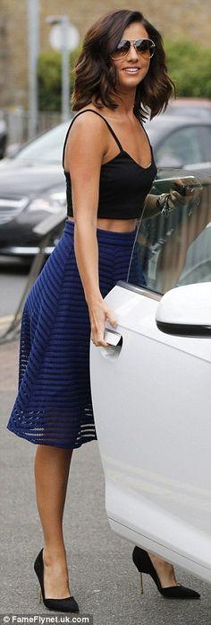 Lucy Mecklenburgh looks elegant in black bralet and cobalt midi-skirt #dailymail