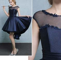 Cute A-line see-through prom dress,high-low satin evening dresses - Thumbnail 2