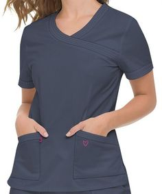 40d24e69c28 Landau Twill Collection Women's U-Shaped Neck Modern Fit Solid Scrub Top  #4048 Casual