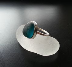Sea Glass Ring, Sea Glass Jewelry, Sterling Silver, Dark Teal, Stacker Rings, Sea Glass, Beach Jewelry, Blue. $60.00, via Etsy.