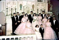 Vintage 1958 wedding. At least the bridesmaids dresses were not horrendous in this wedding (so many are in vintage wedding photos).