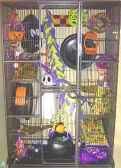 a reminder to have fun with the cage each holiday. need to re-imagine this so its useable for rabbits I love the colorful fleece. Sugar Glider Toys, Sugar Glider Cage, Sugar Gliders, Pet Rodents, Pet Rats, Ferrets, Chinchilla Cage, Ferret Cage, Cage Rat
