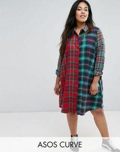 ASOS CURVE Mixed Check Shirt Dress