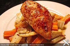 Senf - Honig - Hühnchen mit geröstetem Gemüse, ein sehr schönes Rezept aus der Kategorie Geflügel. Bewertungen: 7. Durchschnitt: Ø 3,3.