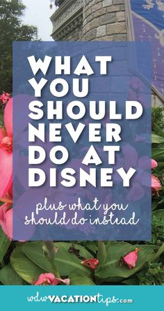All the things you should NEVER do on your Walt Disney World vacation. Plus so great tips on what to do instead.