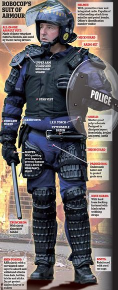 How the riot police were a suit of armour to deal with the rioters Police Gear, Riot Police, Police Uniforms, Police Officer, Suit Of Armor, Body Armor, Body Worn Camera, London Police, Tactical Gear