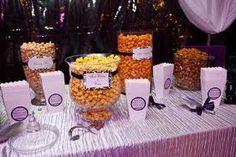 The gourmet popcorn bar. Dessert Buffet, Candy Buffet, Diy Wedding, Wedding Reception, Wedding Ideas, Wedding Stuff, Theatre Wedding, Wedding Things, Dream Wedding