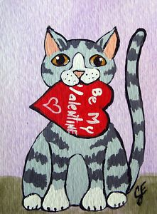 """Valentine Kitty""  Original Painting  Artist Trading Card"