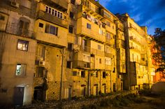 Corte – Corsica - It was a beautiful evening in Corte, a city in the mountains of corsica. This houses are  the backside view from a shopping street in this university city.