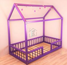 house shaped Montessori bed with RAILS  House bed Montessori