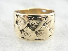 Exceptional, hand Crafted Wide Gold Band of Tapering Leaves KPCNHT-D on Etsy, $1,115.00