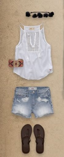Hollister - i have this tank & very similar shorts or maybe even they are the same :) Cute Summer Outfits, Short Outfits, Spring Outfits, Cool Outfits, Cute Fashion, Teen Fashion, Fashion Outfits, Womens Fashion, Fashion Ideas