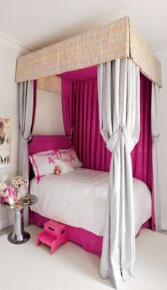 Luxury Bedrooms - Canopy Bed for the little Princess... Even has a little pink step up to bed