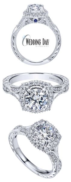 Gorgeous and detailed vintage inspired halo engagement ring from our exclusive Amavida collection - How pretty is that blue sapphire accent and engraving on the side profile?