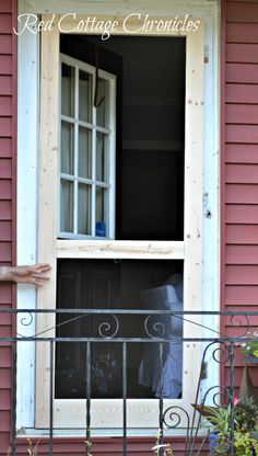 """A nice screen door really adds to curb appeal. This """"Chippendale"""" wood screen door tutorial can help you build your own for a fraction of the cost of new! Screened Gazebo, Hot Tub Gazebo, Backyard Gazebo, Patio, Wood Screen Door, Screen Doors, Front Doors, Red Cottage, Window Screens"""