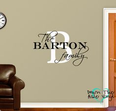 Family Monogram Wall Decal Vinyl Wedding Sticker Art Vinyls - Family monogram wall decals