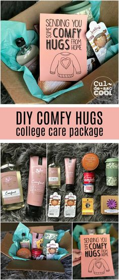 DIY Comfy Hugs College Care Package with Free Printable – Diy Gifts For Friends Diy Gifts For Friends, Diy Gifts For Boyfriend, Best Friend Gifts, Care Package For Boyfriend, Sister Gifts, Boyfriend Boyfriend, Army Girlfriend, Kids Gifts, College Gift Baskets
