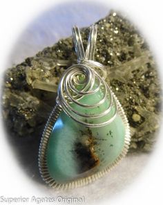 Chrysoprase Gem Silver Wire Wrapped Pendant by superioragates, $65.00
